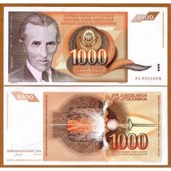 YUGOSLAVIA 1000 DINARA 1990 NIKOLA TESLA Pick 107 BILLETE SC Dinar UNC BANKNOTE