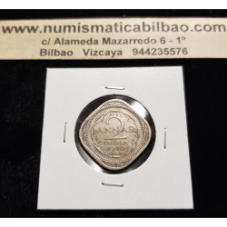 INDIA 2 ANNAS 1946 REY JORGE VI Forma de Rombo KM.542 MONEDA DE NICKEL MBC British India UK Colony