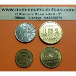 SAARLAND 10+20+50+100 FRANKEN 1954 Región minera de ALEMANIA KM.1+2+3+4 @RARAS@ Juego completo de 4 monedas