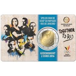BELGICA 2 EUROS 2016 EQUIPO OLIMPICO OLIMPIADA DE RIO 2016 EN BRASIL SC MONEDA CONMEMORATIVA COINCARD COIN BELGIUM