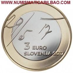 @NOVEDAD@ ESLOVENIA 3 EUROS 2017 MANIFIESTO DE MAYO BIMETALICA SC MONEDA CONMEMORATIVA Slovenia coin
