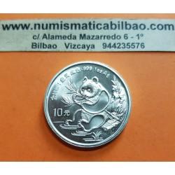 CHINA 10 YUAN 1991 OSO PANDA y PAGODA @FECHA GRANDE@ MONEDA DE PLATA SC 1 OZ ONZA OUNCE silver coin BIG DATE