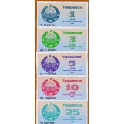 UZBEQUISTAN 1+3+5+10+25 SOM 1992 MEZQUITA PICK 61-62-63-64-65 BILLETES SC Uzbequistan UNC BANKNOTE SUM