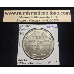 @OFERTA@ JAMAICA 5 SHILLINGS 1966 UNC 8th BRITISH EMPIRE & COMMONWEALTH GAMES KM.40 MONEDA DE NICKEL SC
