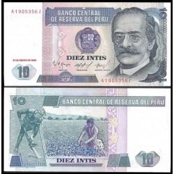 PERU 10 INTIS 1986 RICARDO PALMA y AGRICULTORES Pick 128 BILLETE SC UNC BANKNOTE