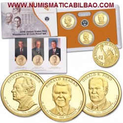 @OFERTA@ 2016 UNITED STATES MINT PRESIDENTIAL $1 COIN PROOF SET ESTADOS UNIDOS Estuche 3 Monedas 1 DOLAR 2016 PRESIDENTES