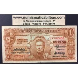 URUGUAY 1 PESO 1939 ARTIGAS Y BARCOS EN EL MAR Pick 35B BILLETE USADO BANKNOTE