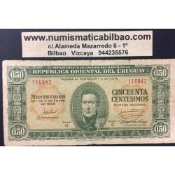 URUGUAY 50 CENTESIMOS 1939 ARTIGAS Y ESCUDO Pick 34 BILLETE USADO BANKNOTE