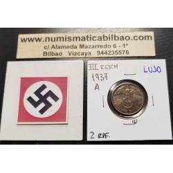 ALEMANIA 2 REICHSPFENNIG 1937 A ESVASTICA NAZI III REICH LUJO