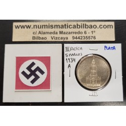 ALEMANIA 5 MARCOS 1934 A IGLESIA DE POSTDAM y ESVASTICAS NAZI III REICH KM.83 MONEDA DE PLATA SC- Germany 5 Reichsmark 1