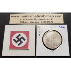 ALEMANIA 5 MARCOS 1935 A IGLESIA DE POSTDAM y ESVASTICAS NAZI III REICH KM.83 MONEDA DE PLATA EBC+ Germany 5 Reichsmark 1