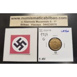 ALEMANIA 5 REICHSPFENNIG 1937 G AGUILA SOBRE ESVASTICA NAZI KM.91 MONEDA DE LATON Germany 1 @ESCASA@
