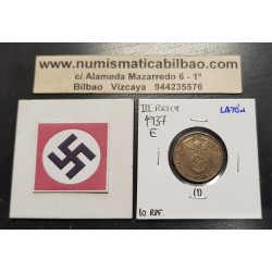 ALEMANIA 10 REICHSPFENNIG 1937 E AGUILA SOBRE ESVASTICA NAZI KM.92 MONEDA DE LATON @RARA@ III REICH Germany 1