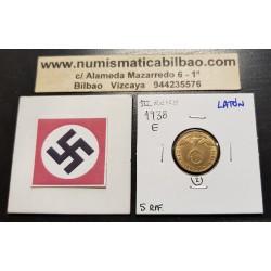 ALEMANIA 5 REICHSPFENNIG 1938 E AGUILA SOBRE ESVASTICA NAZI KM.91 MONEDA DE LATON Germany 2