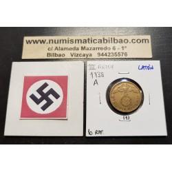 ALEMANIA 10 REICHSPFENNIG 1938 A AGUILA SOBRE ESVASTICA NAZI KM.92 MONEDA DE LATON Germany 1