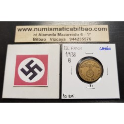 ALEMANIA 10 REICHSPFENNIG 1938 B AGUILA SOBRE ESVASTICA NAZI KM.92 MONEDA DE LATON Germany 1