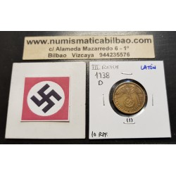 ALEMANIA 10 REICHSPFENNIG 1938 D AGUILA SOBRE ESVASTICA NAZI KM.92 MONEDA DE LATON Germany 1