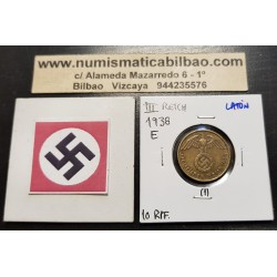 ALEMANIA 10 REICHSPFENNIG 1938 A ESVASTICA NAZI LATON EBC