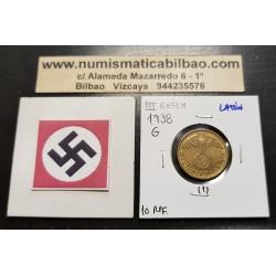 ALEMANIA 10 REICHSPFENNIG 1938 G AGUILA SOBRE ESVASTICA NAZI KM.92 MONEDA DE LATON Germany 1