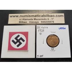 ALEMANIA 5 REICHSPFENNIG 1939 D AGUILA SOBRE ESVASTICA NAZI KM.91 MONEDA DE LATON Germany 1
