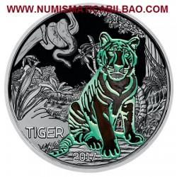 @AGOTADA y RARA@ AUSTRIA 3 EUROS 2017 TIGRE MONEDA DE NICKEL SC @SE ILUMINA EN LA NOCHE@ Österreich Tiger Tier Euro Coin