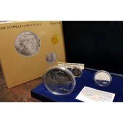 ESPAÑA 10 EUROS 2007 + 50 EUROS 2007 + 200 EUROS 2007 CANTAR DEL MIO CID 3 MONEDAS PLATA y ORO ESTUCHE FNMT