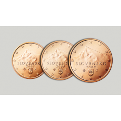 ESLOVAQUIA 1+2+5 CENTIMOS 2009 ESCUDO 3 MONEDAS DE COBRE SIN CIRCULAR Slovakia Euro Euros Cents