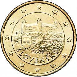 ESLOVAQUIA 50 CENTIMOS 2009 CASTILLO ANTIGUO MONEDA DE LATON SC Solvakia 50 Euro Cents