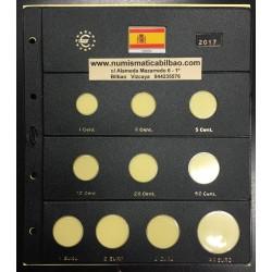 . ESPAÑA HOJA PARDO MONEDAS EUROS 2015 Hueco 2x2€ + 30€