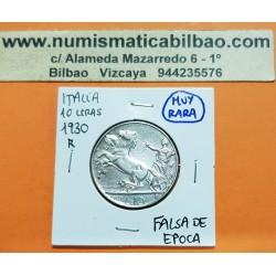 @RARA FALSA DE EPOCA@ ITALIA 10 LIRAS 1930 BIGA REY VITTORIO EMANUELLE III KM.68.2 MONEDA DE PLATA MBC++ Italy 10 Lires Silver