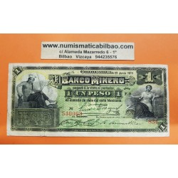MEXICO 1 PESO 1914 BANCO MINERO DEL ESTADO DE CHIHUAHUA REVOLUCION MEXICANA Pick S.162.D BILLETE @RARO@ Mejico banknote