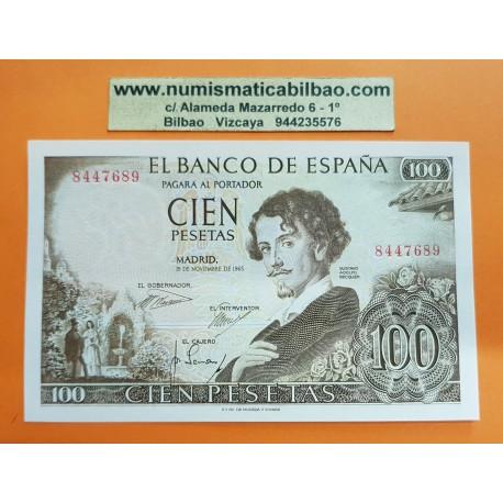 ESPAÑA 100 PESETAS 1965 GUSTAVO ADOLFO BECQUER Sin Serie 8447689 Pick 150 BILLETE SC PLANCHA Spain banknote