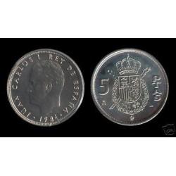 ESPAÑA 5 PESETAS 1984 M JUAN CARLOS I y ESCUDO KM.823 MONEDA DE NICKEL SC SIN CIRCULAR