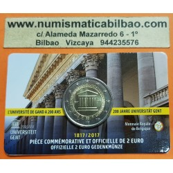 BELGICA 2 EUROS 2017 UNIVERSIDAD DE GANTE SC MONEDA CONMEMORATIVA EN COINCARD COIN Ghant Gent