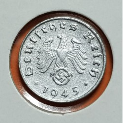 ALEMANIA 1 REICHSPFENNIG 1945 E AGUILA SOBRE ESVASTICA NAZI III REICH KM.97 MONEDA DE ZINC @MUY RARA@