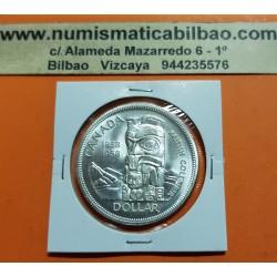 CANADA 1 DOLAR 1958 BRITISH COLUMBIA TOTEM INDIO KM.55 MONEDA DE PLATA SC 1 Dollar silver coin