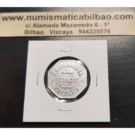 ERANDIO 250 GRAMOS DE PAN (1938) FICHA DE COOPERATIVA CATOLICA MONEDA DE ALUMINO GUERRA CIVIL BILBAO VIZCAYA