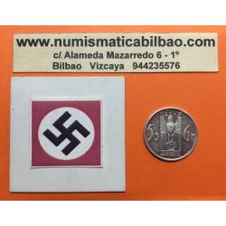 @RARA@ AUSTRIA 50 GROSCHEN 1936 AGUILA y ESVASTICA ALEMANIA NSDAP DONACION NAVIDEÑA PARA EL PARTIDO FICHA NAZI ALUMINIO @LUJO@
