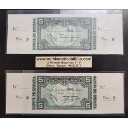 @OFERTA@ 2 billetes x 5 PESETAS 1937 Serie A BANCO URQUIJO VASCONGADO + GUIPUZCOANO BILBAO SC CON MATRIZ