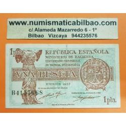 ESPAÑA 1 PESETA 1937 REPUBLICA ESPAÑOLA Serie B 4155668 Pick 94 BILLETE MBC+ Spain banknote