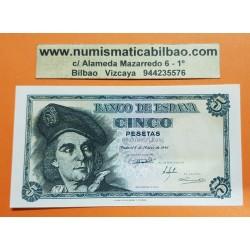 ESPAÑA 5 PESETAS 1948 JUAN SEBASTIAN ELCANO Serie A 02566322 Pick 136A BILLETE PLANCHA SC SIN CIRCULAR Spain banknote UNC