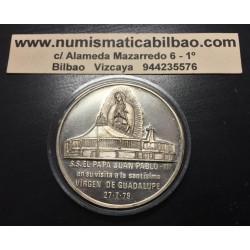 @OFERTA@ MEXICO MEDALLA 1979 PAPA JUAN PABLO II EN SU VISITA A LA SANTISIMA VIRGEN DE GUADALUPE PLATA 40 GRAMOS)