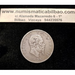 ITALIA 5 LIRAS 1874 M REY VITTORIO EMANUELE II KM.8.3 MONEDA DE PLATA @ESCASA@ Italy 5 Lire silver coin