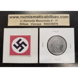 DINAMARCA 5 ORE 1942 ESCUDO ZINC III REICH NAZI