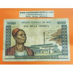 BANK OF CENTRAL MALI 10000 FRANCOS 1970 JEFE TRIBAL CON FEZ y MUJERES Pick 15F BILLETE MUY CIRCULADO LEVE ROTURA @MUY RARO@