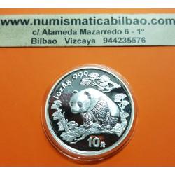 CHINA 10 YUAN 1997 OSO PANDA y PAGODA FECHA PEQUEÑA MONEDA DE PLATA SC 1 ONZA OZ OUNCE Silver coin SMALL DATE