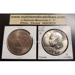 ESTADOS UNIDOS 1 DOLAR 1974 D EISENHOWER y AGUILA SOBRE LA LUNA KM.203 MONEDA DE NICKEL SC- @RAYITAS@ USA $1 Dollar