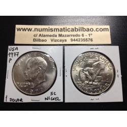 ESTADOS UNIDOS 1 DOLAR 1977 P EISENHOWER y AGUILA SOBRE LA LUNA KM.203 MONEDA DE NICKEL SC USA $1 Dollar