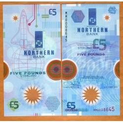 IRLANDA DEL NORTE 5 LIBRAS 1999 BELFAST NAVE ESPACIAL Pick 203A BILLETE DE PLASTICO POLIMERO SC Ireland Northern Bank 5 Pounds