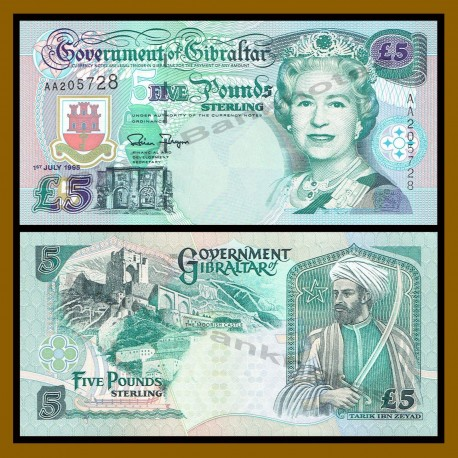 GIBRALTAR 5 LIBRAS 1995 TARIK IBN ZEYAD CON ESPADA y THE MOORISH CASTLE Pick 26A BILLETE SC 5 Pounds banknote